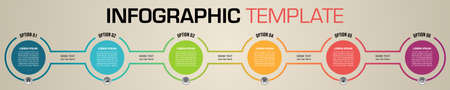 Modern colorful infographics options template vector with circle element on ocher background