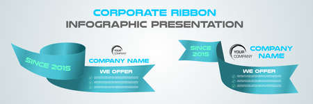 Modern colorful infographics corporate presentation vector template with blue ribbon Ilustracje wektorowe