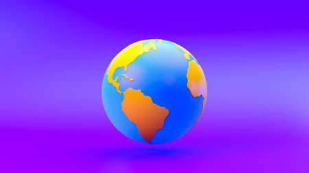 Multi-colored world on gradient background, 3d rendering.