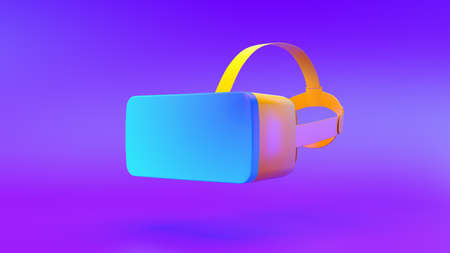 Multi-colored VR on gradient background, 3d rendering.