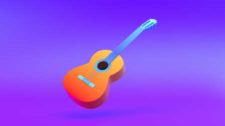 Multi-colored Guitar on gradient background, 3d rendering. Stock Photo