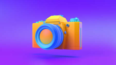 Multi-colored Camera on gradient background, 3d rendering.