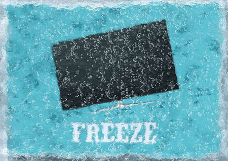 TV frozen in ice cube, on blue background, 3D rendering. Banque d'images - 130563603