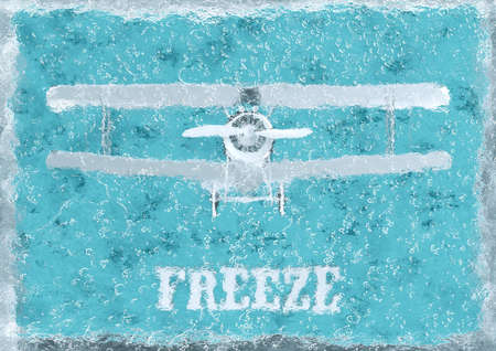 Plane frozen in ice cube, on blue background, 3D rendering. Banque d'images - 130563602