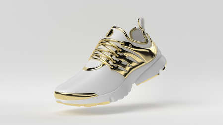 Creative minimal luxury product idea. Concept white and gold shoe with white background. 3d render. 版權商用圖片