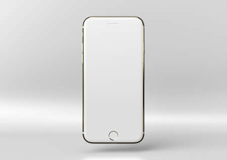 Creative minimal luxury product idea. Concept white and gold phone with white background. 3d render.