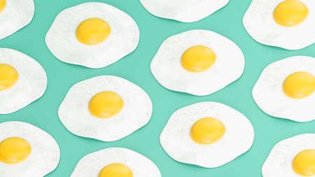 Fried egg pattern on green background, 3d render. 版權商用圖片
