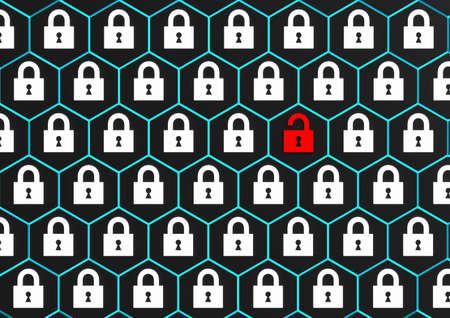 System hacked alert, Security breach with red broken padlock, 3D render. Stock fotó