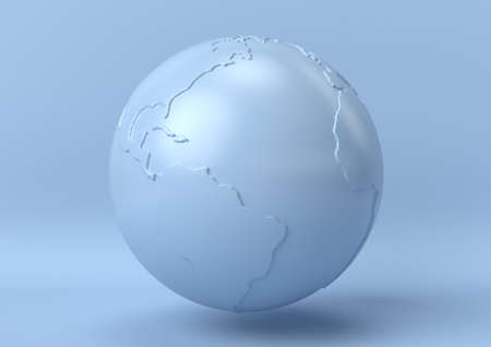 Creative minimal summer idea. Concept blue earth with pastel background. 3d render.