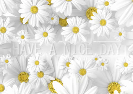 Creative banner have a nice day idea. Concept white flower with pastel background. 3d render.