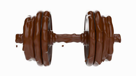 chocolate in form of dumbbell. 3d rendering, 3D illustration.