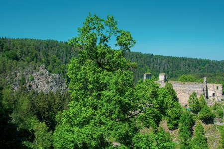 Castle ruins girl stone Banco de Imagens