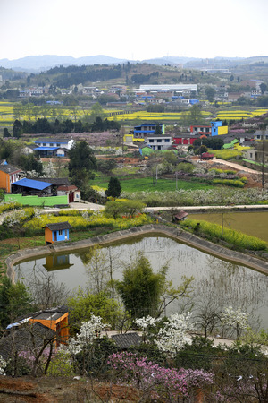 The rural scene of the Luo river in Sichuan