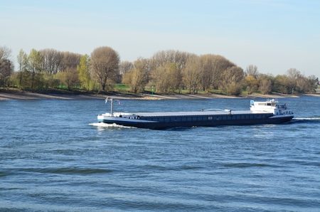 inland waterways: A river barge on the Rhine  Barges are designed for navigation on inland waterways and inland waterways  Stock Photo