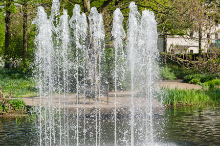 Water feature, fountain fountain in a public park  photo