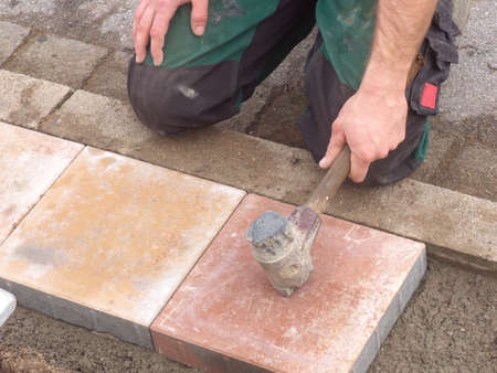 Lay paving stones photo