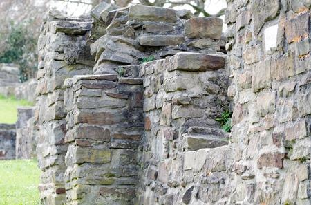castles needle: Old slightly dilapidated Burgemäuer with moss