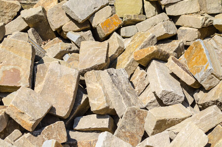 Storage space of various sandstone, natural stone, quarry stone varieties and species