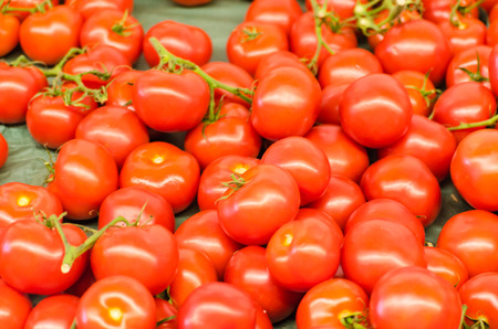 differed: Various tomatoes for sale at a farmers market Stock Photo