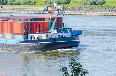 inland waterways: A container ship on the Rhine at sea bush, it is designed for use on inland waters and inland waterways