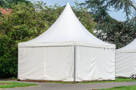 marquees: Pagoda tent quickly set up for various occasions as a sales tent, etc  Stock Photo