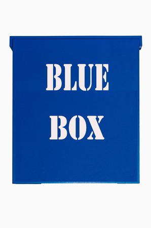 proxy falls: Blue wooden box with inscription blue box on a white background.