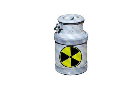 of irradiated: Barrel of radioactive waste, with the warning signs are in the barrel radioactive waste, marked by radiation symbol.