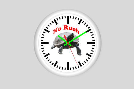 no rush: Clock against a gray background, in the middle of a turtle and the inscription No Rush.