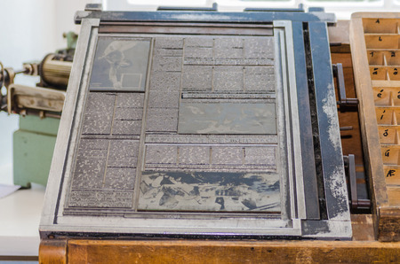 Old metal letters for preparing a printing form The printing plate which Used for letterpress printing.