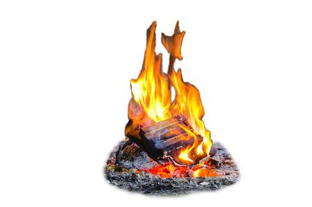 Brand, vlammen, Bonfire geïsoleerd tegen een witte achtergrond Stockfoto