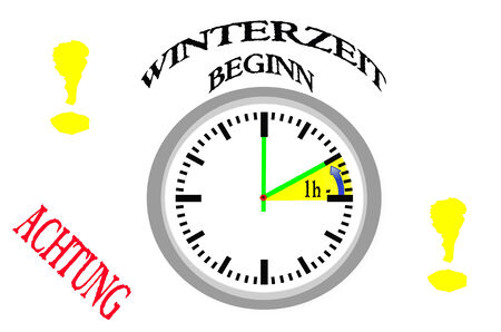 black ancestry: Time change, Attention Winter time begins Stock Photo