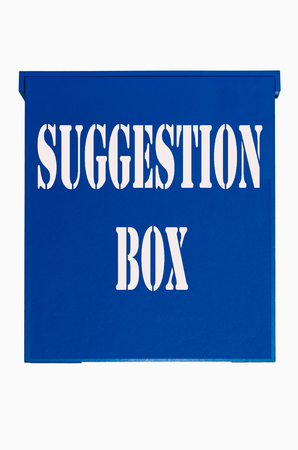 Blue box, Ballot Box, crate, wooden box with inscription suggestion box on a white background. Stock Photo