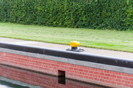 canal lock: Masonry of a canal lock with Mooring for the ships.