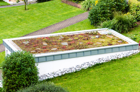 Roof garden, green roof of a garage. Stockfoto