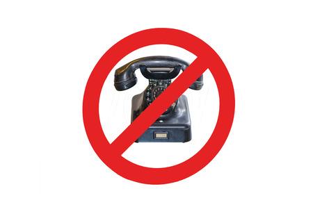 recibo: Inscripción - no hay teléfonos celulares - Llamar por teléfono prohibidos. Señal de prohibición rojo con el teléfono viejo.