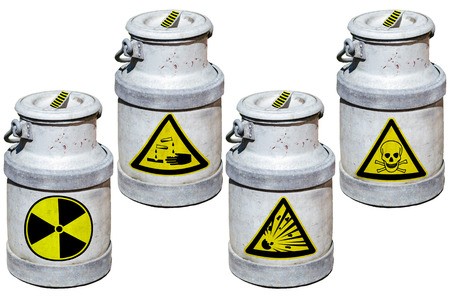 hazardous waste: Four barrels with hazardous waste. Barrels marked by symbols.