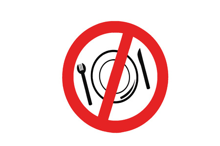crossed out: Symbol signs Prohibiting eating or drinking. Prohibition sign, red circle crossed out with black symbol