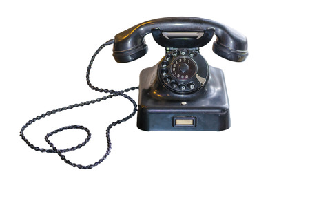 Antique Telephone Black Bakelite with dial on white background
