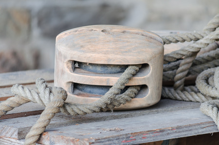 pulley: Pulley of an old wooden sailboat