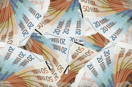 20 euro: Picture full of banknotes of the European currency. Mostly 50 and 20 Euro bills.