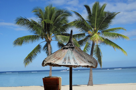 imagines: Stand, sun, sea, palm beach chair. So one imagines a tax haven. Stock Photo