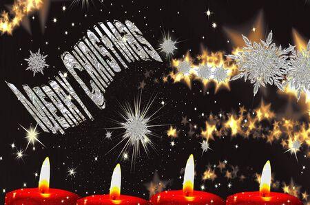 chrismas: Christmas card with inscription Merry Chrismas frosty Stock Photo