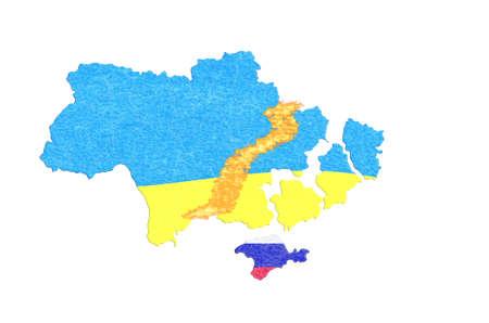 breakaway: Focus Ukraine, Map with Flags and breakaway provinces.