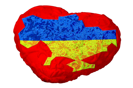 focal point: Focal point of Ukraine. Heart with map of Ukraine. Stock Photo
