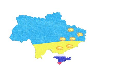 focal point: Focal point of Ukraine, map with flag and breakaway provinces where a fire burns.