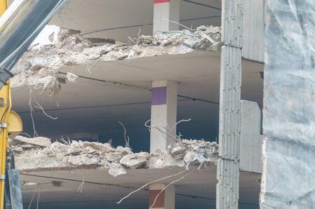 demolition: Demolition, demolition of a car parking garage. Stock Photo