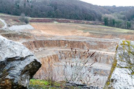View of the underground mining of limestone mine works in Wlfrath.