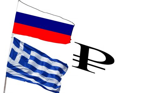 Flag Greece and Russia Rubles characters.