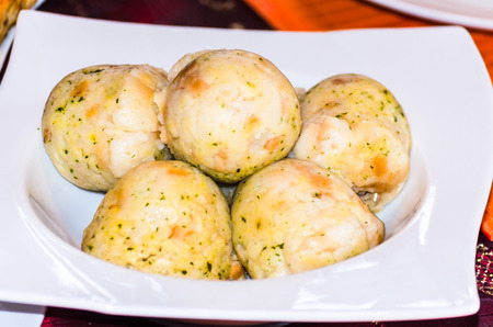 jewish home: Potato dumplings A South German dishes Usually served with Roast pork. Stock Photo