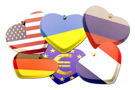 american revolution: A set of country flags illustration on heart.